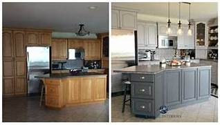 Painted Kitchen Cabinets Before And After Grey by Before And After Painted Oak Kitchen Cabinets In Gray Kylie M E Design