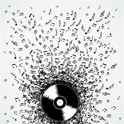 Record Vinyl Notes Dj Splash Vector Illustration