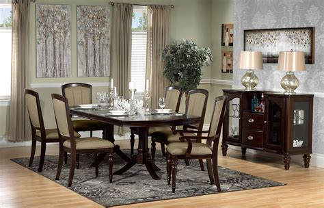 thoreaux  piece dining room set dark cherry leons