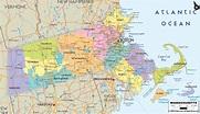Detailed Political Map of Massachusetts - Ezilon Maps