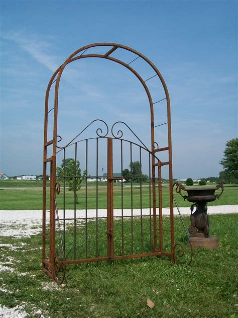 wrought iron arbor with gate wrought iron garden arch gate combination arbor trellis 1966