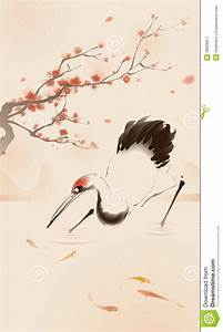 Oriental Style Painting, Red-crowned Crane Stock Vector ...