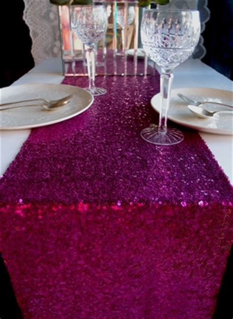 blowout sequin table runner fuchsia hot pink