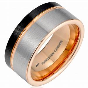 Mens black gunmetal grey tungsten carbide wedding ring for Mens gunmetal wedding rings