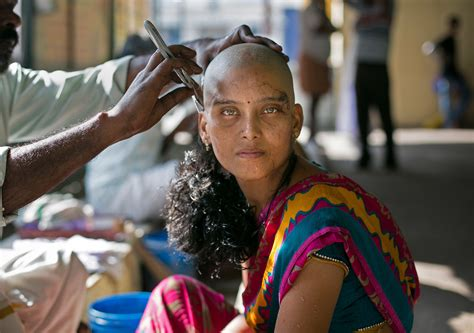 striking images show indian women shaving