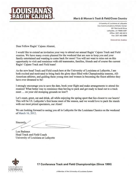 Letter Of Recommendation Sle For Former Employee The Welcome Letter From Lon Badeaux Track And Field