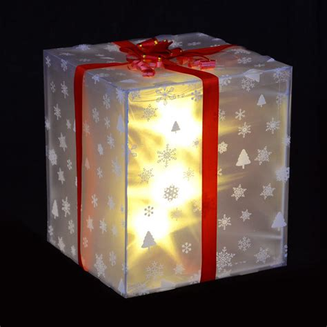 glass christmas light box christmas light up gift box decoration with red ribbon bow