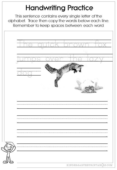 pangram handwriting worksheets  images handwriting