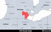 734 Area Code - Location map, time zone, and phone lookup