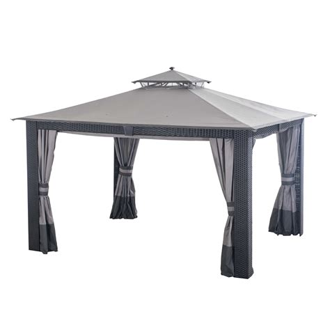 allen and roth gazebo allen roth 12 ft x 10 ft wicker gazebo with curtain and
