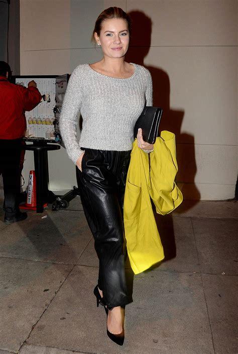 elisha cuthbert  leaving craigs restaurant leather