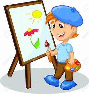 Painting clipart boy painting - Pencil and in color ...