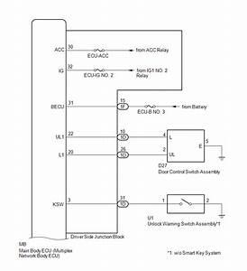Toyota Tacoma 2015-2018 Service Manual  System Diagram - Power Door Lock Control System