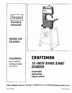 1973 Craftsman 113 24201 12 U0026quot  Band Saw  Sander Owners Manual