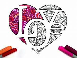 Love Heart Pdf Zentangle Coloring Page