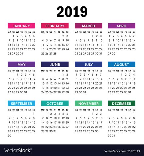 colorful calendar year week starts vector image