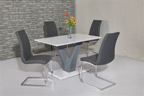 White Gloss Dining Table by White Grey High Gloss Dining Table 4 Grey Chairs