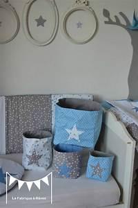 pochons rangement reversibles chambre bebe garcon bleu With chambre bebe garcon bleu gris