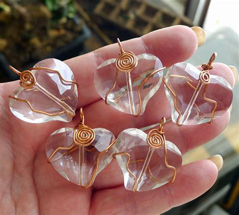 copper wire wrapped crystal heart pendant