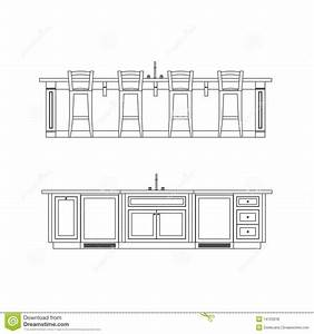 Kitchen Island Elevation Drawing With Sink -