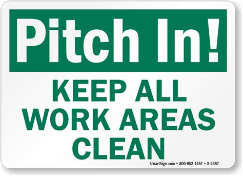 pitch   work areas clean signs housekeeping clean
