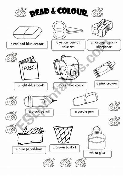Classroom Objects Worksheets Activity Vocabulary Worksheet Colour