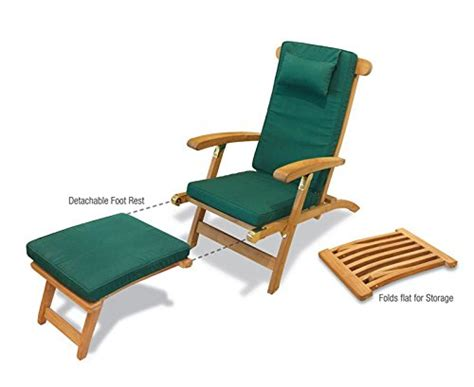 Teak Steamer Chair With Wheels by Serenity Teak Steamer Chair With Wheels And Green Cushion