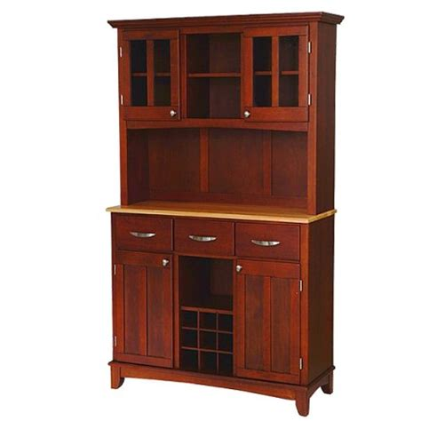cherry kitchen cabinet buffet with 2 door hutch wood cherry home styles 2145