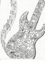 Coloring Guitar Adult Colouring Notes Printables sketch template