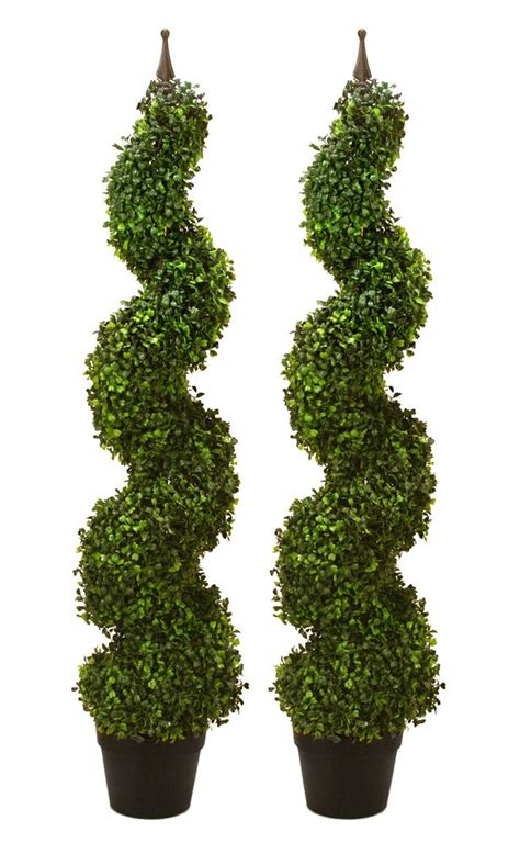 "2 Artificial 47"" Boxwood Spiral Topiary In Outdoor Tree"