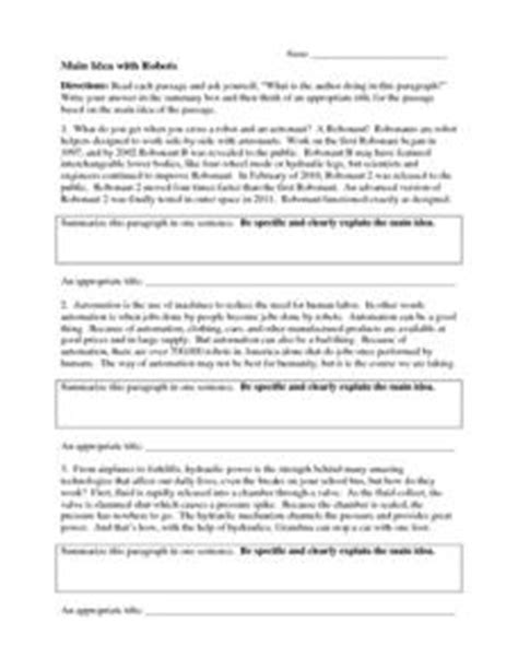 main idea with robots 4th 8th grade worksheet lesson