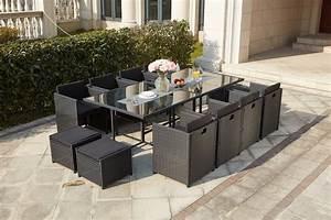 Salon De Jardin 12 Personnes : miami 12 noir noir salon de jardin resine mobilier de ~ Dailycaller-alerts.com Idées de Décoration