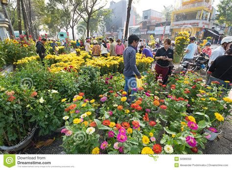 Flower Market On Tet Eve Vietnam Editorial Image Image
