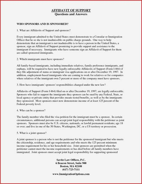 affidavit  support template letter samples letter