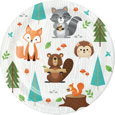 8 x Wild One Woodland Animal Party Paper Plates 18cm