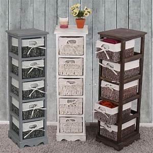 Vintage Regal Weiß : shabby regal mit 5 korbschubladen vintage weiss ~ Watch28wear.com Haus und Dekorationen