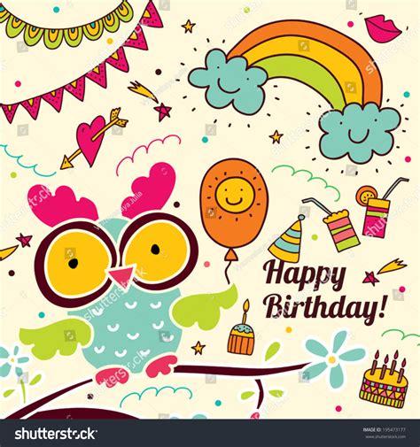happy birthday cute postcard owl stock vector
