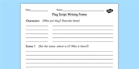 play  kids template making plays script writing