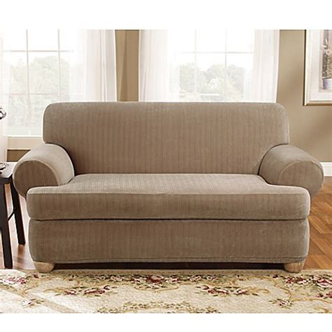 2 T Cushion Loveseat Slipcover by Buy Sure Fit 174 Stretch Pinstripe 2 T Cushion Loveseat