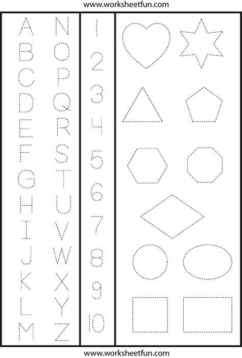 letters numbers  shapes tracing worksheet