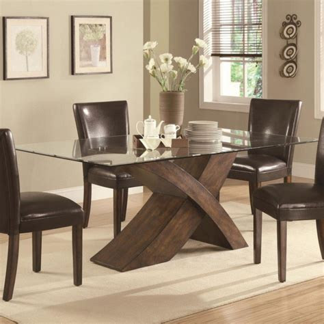 glass dining table  wood base foter