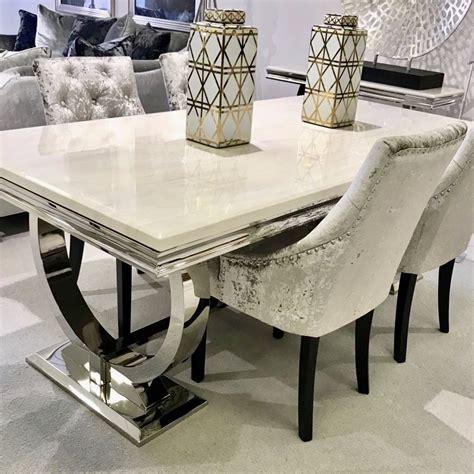 arianna cream marble dining table  steel legs