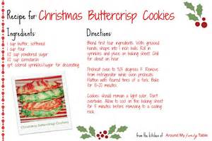 christmas buttercrisp cookies recipe card around my family table