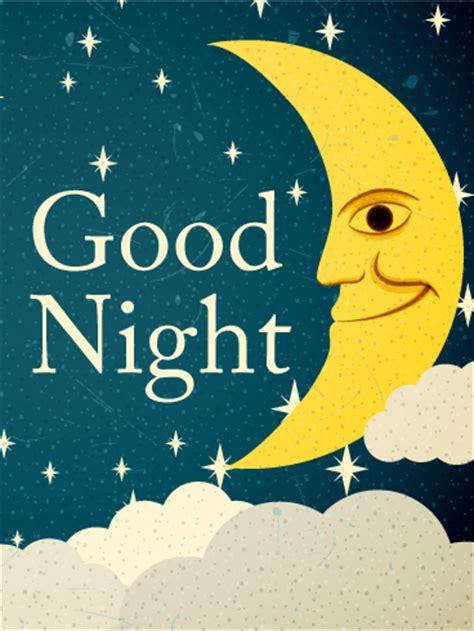 crescent moon good night  card birthday greeting