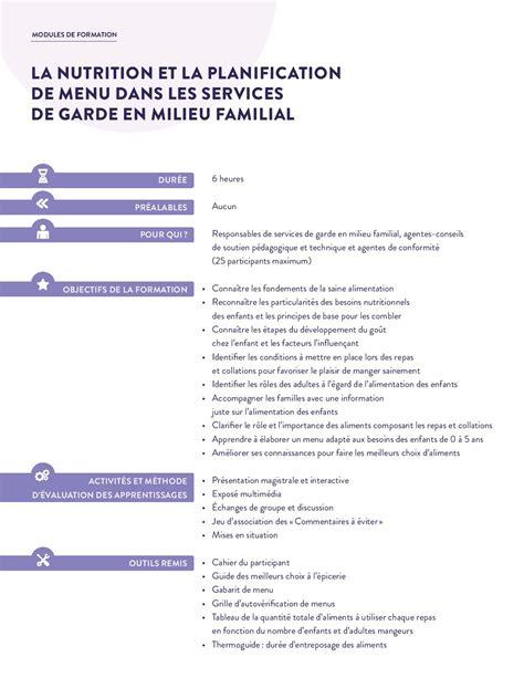 resultats cap cuisine la nutrition et la planification de menu dans les services