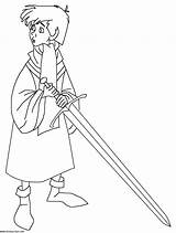 Sword Coloring Pages Stone Arthur Disney Drawing Merlin Coloriage Disneyclips Colouring Printable Dessin King Holding Excalibur Boys Swords Wart Mim sketch template