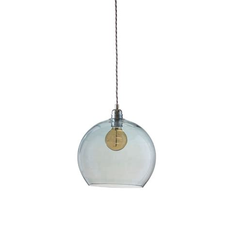 mouthblown globe topaz blue glass pendant lighting and