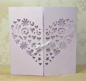 heart laser cut gatefold wedding invitation by sweet pea With laser cut heart wedding invitations uk