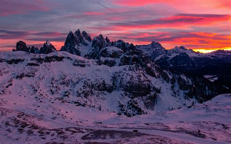Download Wallpaper 3840x2400 Mountain Snow Peaks Sunset