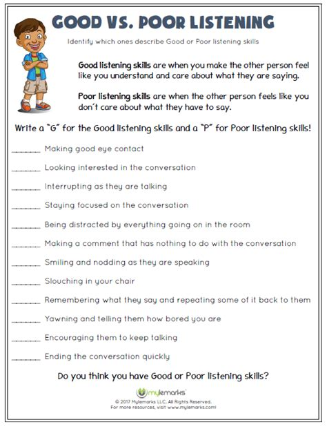 Good Vs Poor Listening  Listening Skills, Kids Learning And Worksheets